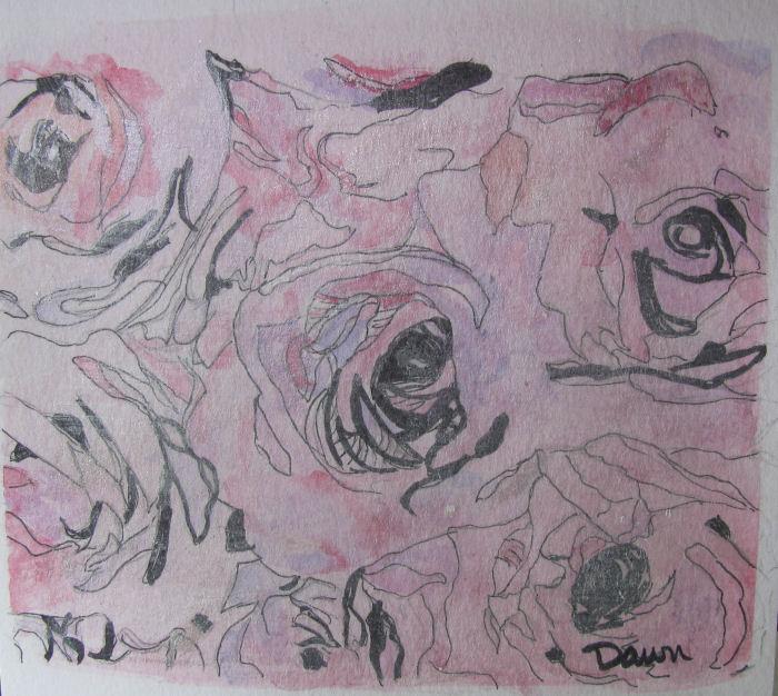 Watercolor & ink roses