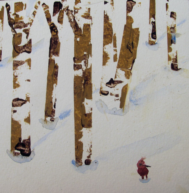 red bird in snow